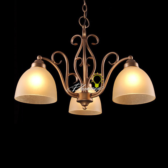 Antique Copper and Marble Shades Chandelier