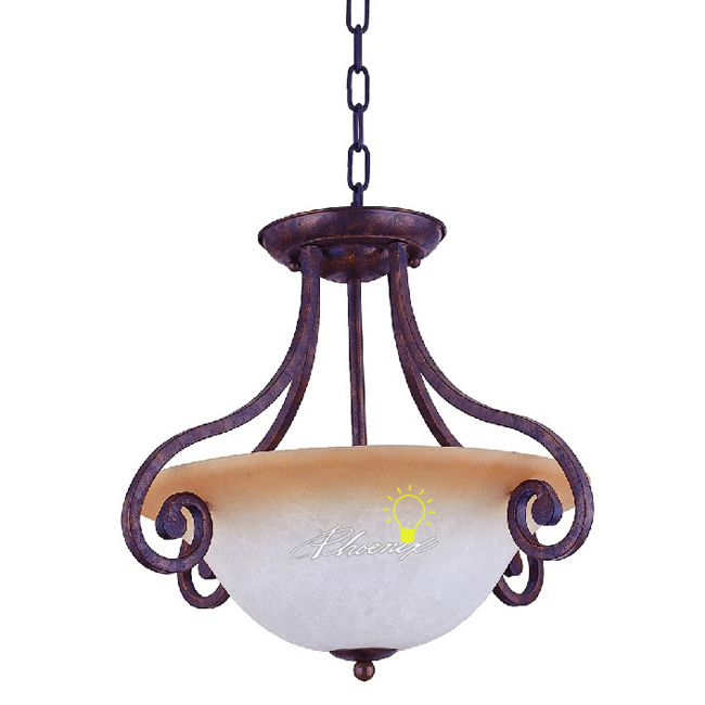 Antique Country Metal and Glass Pendant Lighting 7480