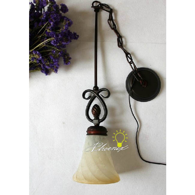 Antique Iron and Marble Pendant Lighting 7516