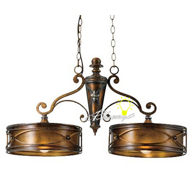 Antique Iron Art Resin and 2 Glass shapes Pendant Lighting 7758