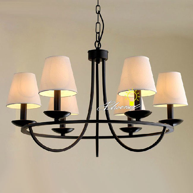 Antique 6 Fabric and Iron Art Chandelier Lighting 7927