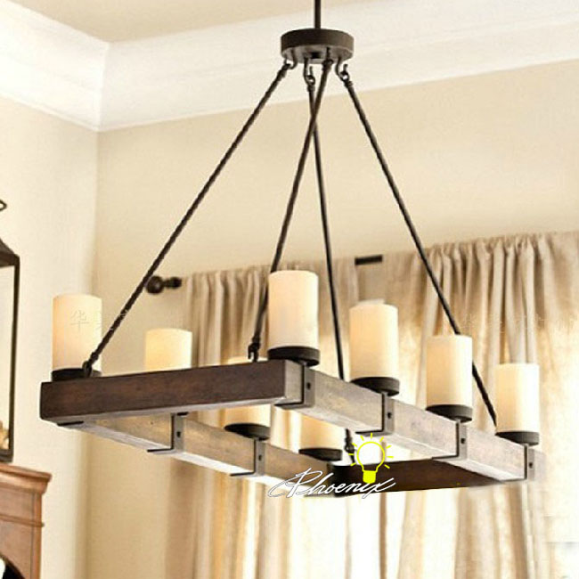 Antique Wooden and Iron Art Pendant Lighting 7939