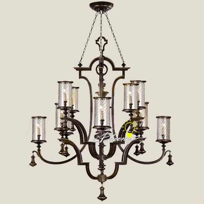 Antique Crystal Shades And Iron Art Chandelier 7950
