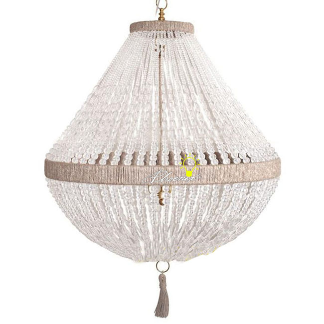 Country Flax Rope and Crystal Chandelier 7964