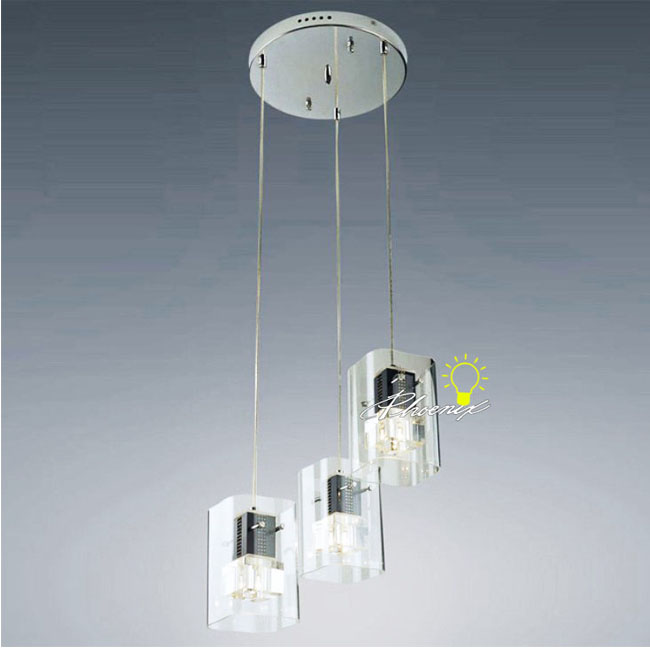 3 Clear Crystal Pendant Lighting in Chrome Finish 8169