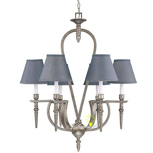 Antique Iron art and 9 Fabric Shades Chandelier 8258