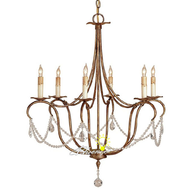 Country 6 Candles and Iron art crystal Chandelier 8264