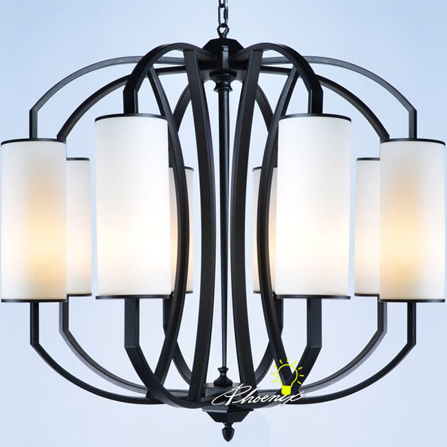 Country Metal Frame And Fabric Shades Chandelier 8283