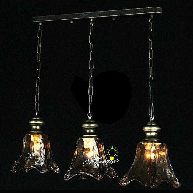 Anrtique Blown Amber Shade Pendant Lighting 8299