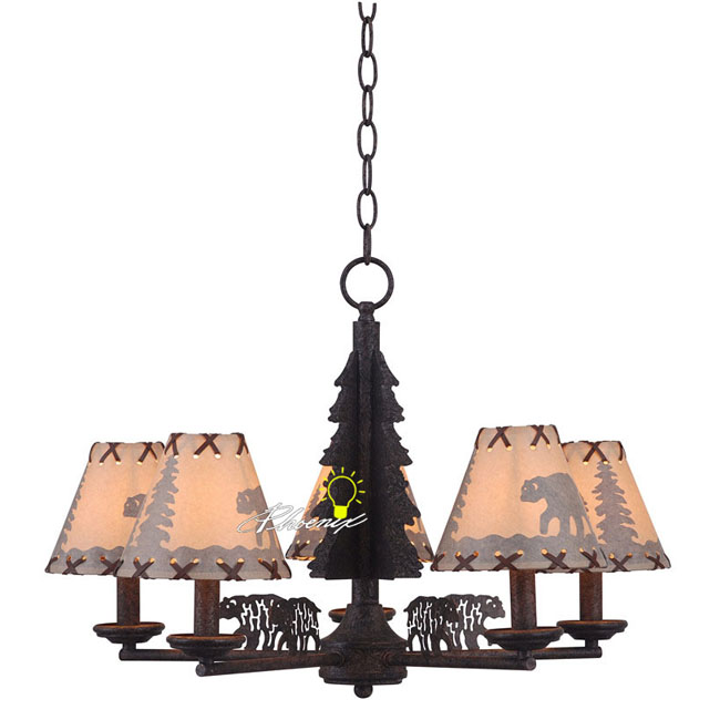 Antique Bears in Forest Story Chandelier 8579