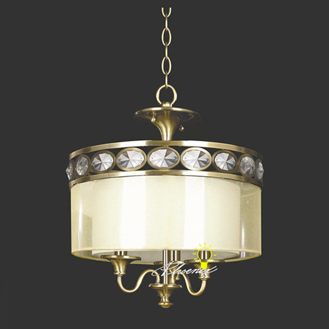 Antique Crystal and Silk Chandelier 8580
