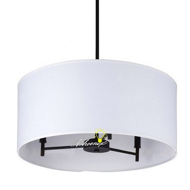 Modern Iron and White Fabric Pendant lighting in 8875