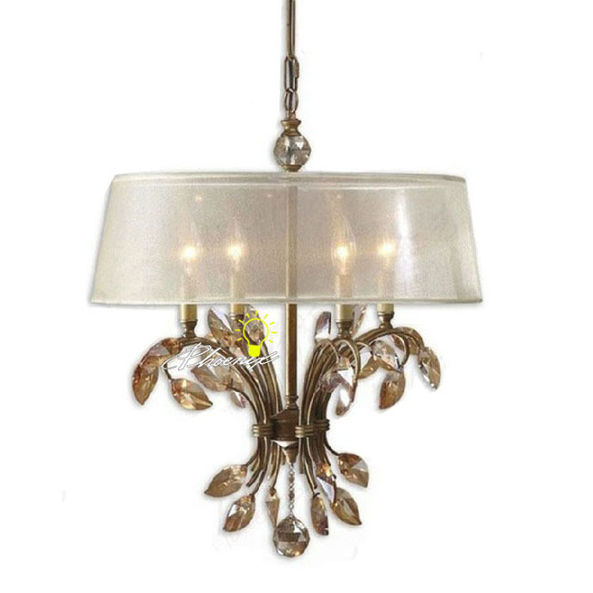 Antique Country Crystal and Silk Chandelier 8930