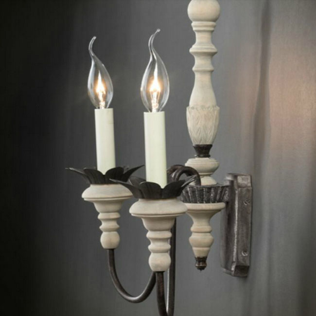 Antique Handmade wood and Colophony Wall Sconce 9718