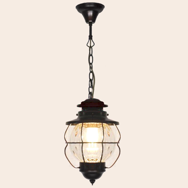 Antique Iron Art and Blown Glass Pendant Lighting 9936