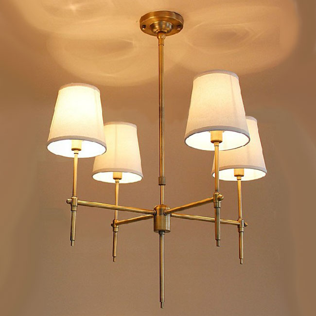 Country Antique Copper And Flax Shades Chandelier 8284