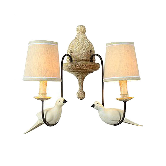Country Antique Bird and Fabric Shades Wall Sconce 10600