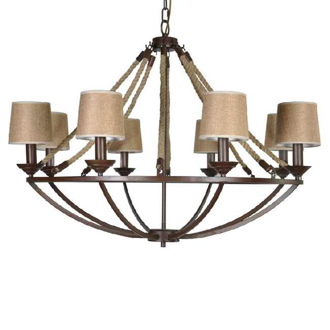 Country Iron and Hemp Rope Chandelier 7317