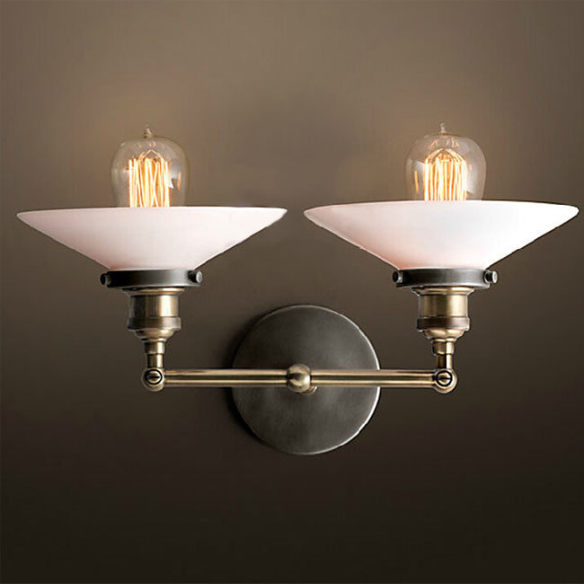 LOFT 2 White Matte Glass Shades and Copper Cap Sconce 7998-2