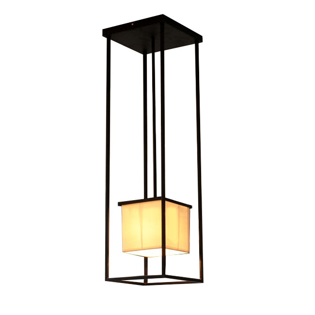 Antique Iron Frame and Square Flax Shade Ceiling Lighting 11060