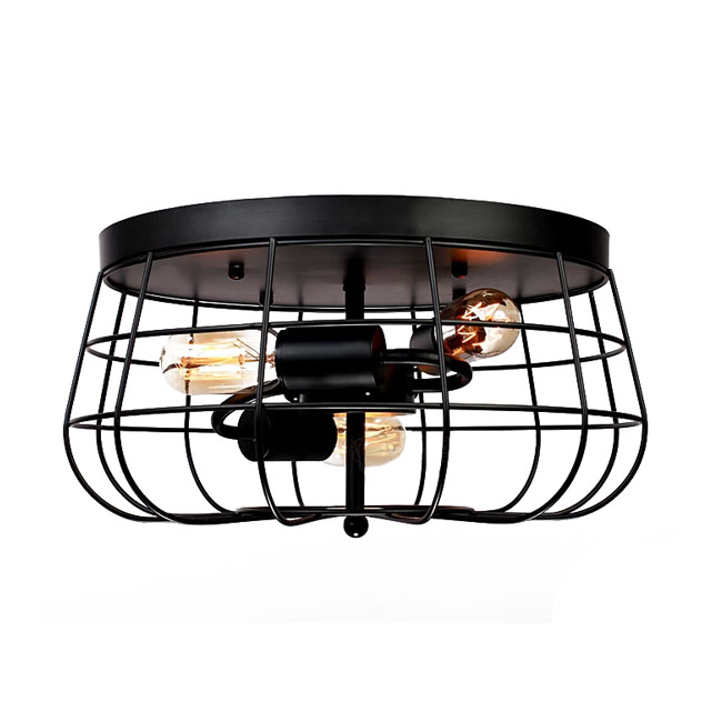 North Iron Line Ceiling Lighting in Black Finish 11418