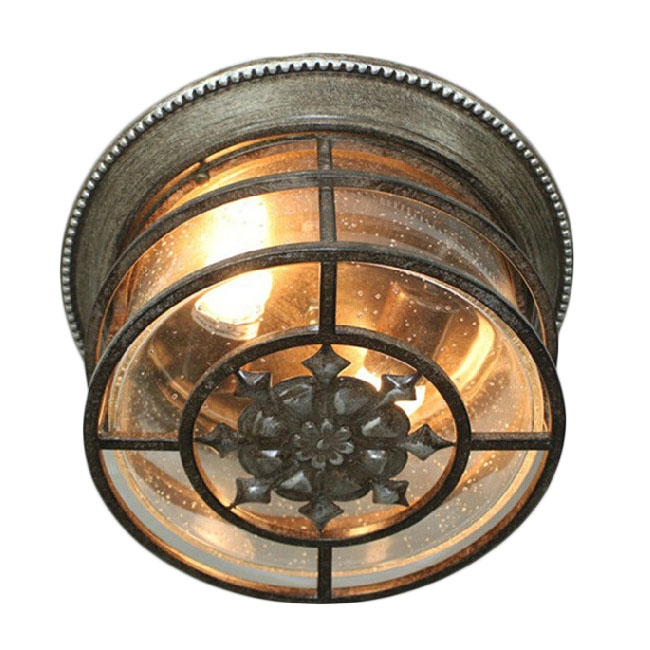 Country Rusted Iron and Glass Shade Ceiling Lighting  11465
