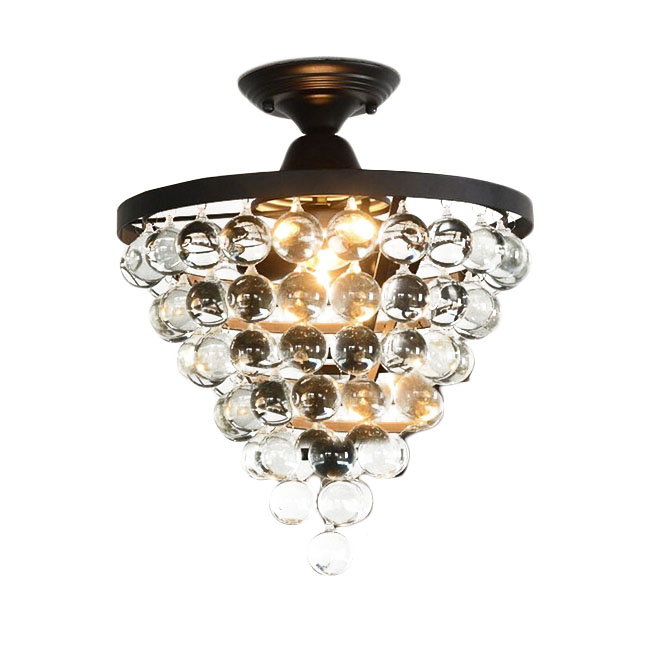 North Iron and Crystal Balls Ceiling Lighting 11548