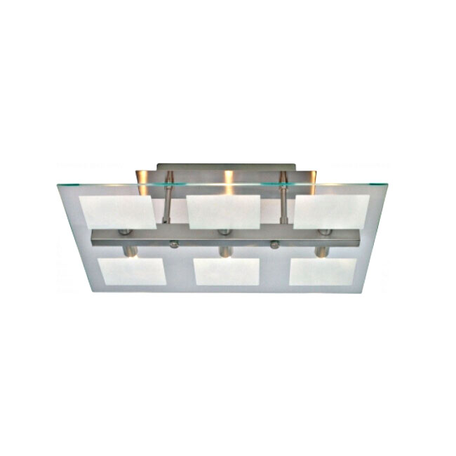 Yola 6 light modern ceiling light flush opal/clear and nickle ma