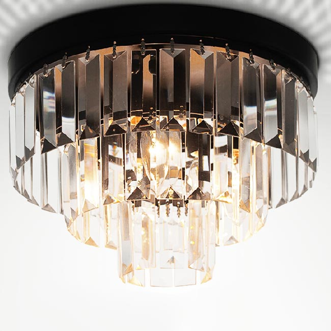 Antique Crystal and Iron Ceiling Lighting 11910