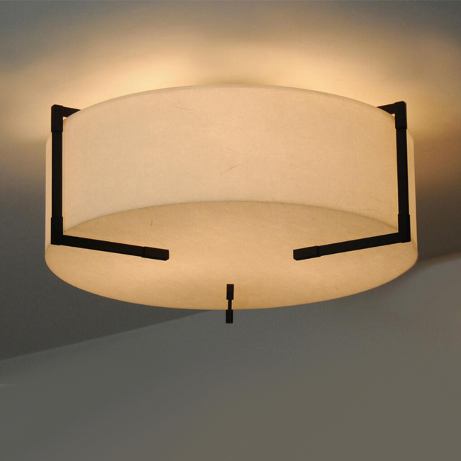Country Flax Round Shade Ceiling Lighting 13044