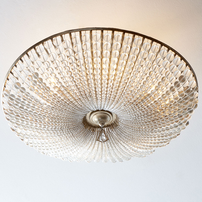 Beaded Crystal Six-Light Semi-Flush Ceiling Lamp 15205