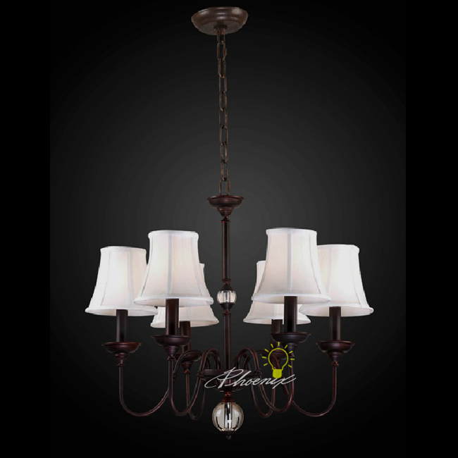 Antique Copper Art and 6 Shades Chandelier 7478