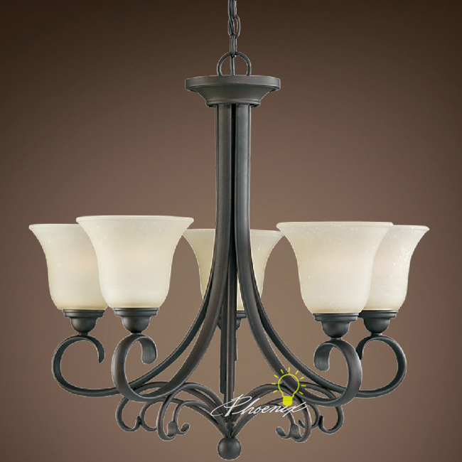 Traditional Iron Art and Matte Glass Shades Chandelier 7482