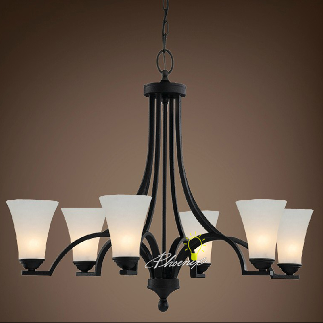 Traditional Iron Art and 6 Matte Glass Shades Chandelier 7487