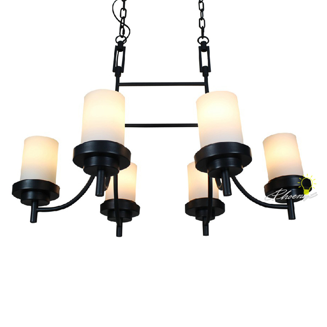 Country 6 Matte Glass shades Iron Chandelier 7505
