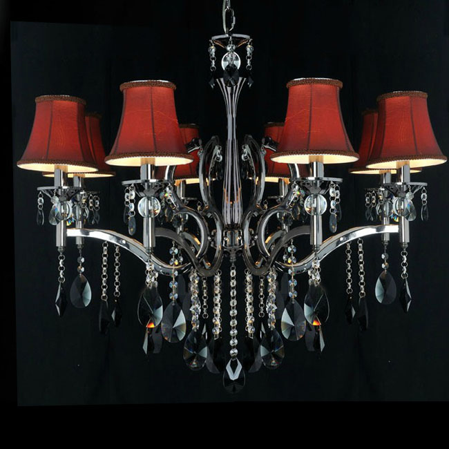 Modern 8 Red Silk Shades Crystal Chandelier 7720