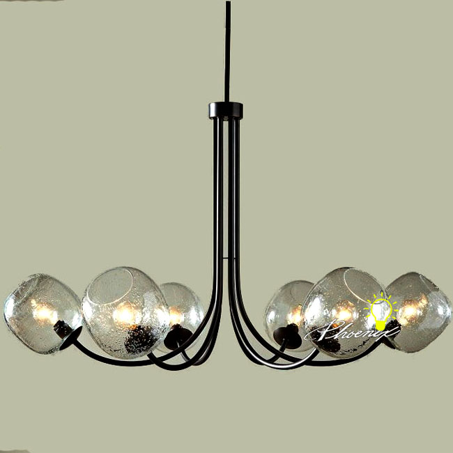 Simple Black Iron Art and Brown Clear Bubble Glass Chandelier 77