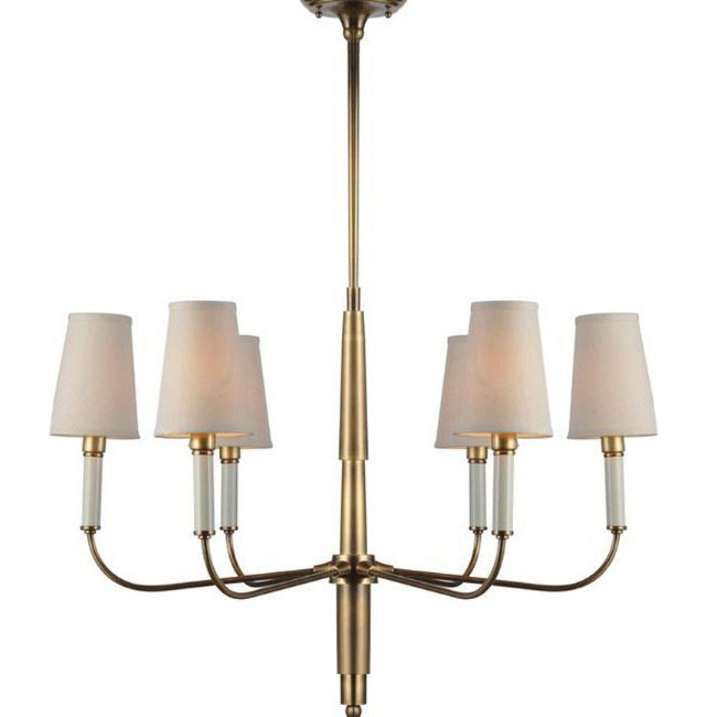 Antique 6 Flax Shades Copper Chandelier 7754