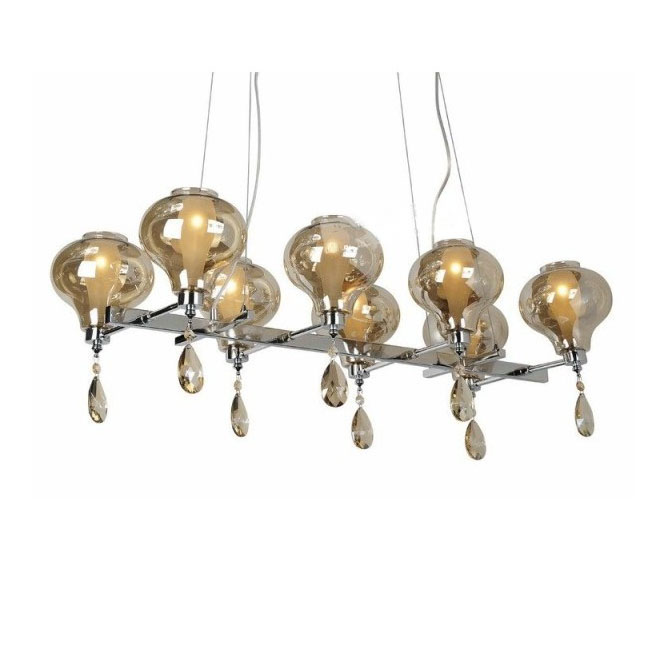 Blown Glass 2-layers Shapes chandeliers in Chrome Finish 7776
