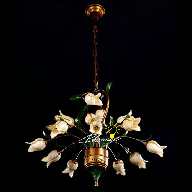 Antique Copper Flower Pendant Lighting in Painted Finish 7897