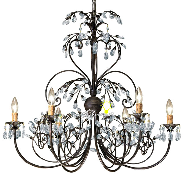 Antique Iron Art and Crystal Chandelier -6 lights 8847