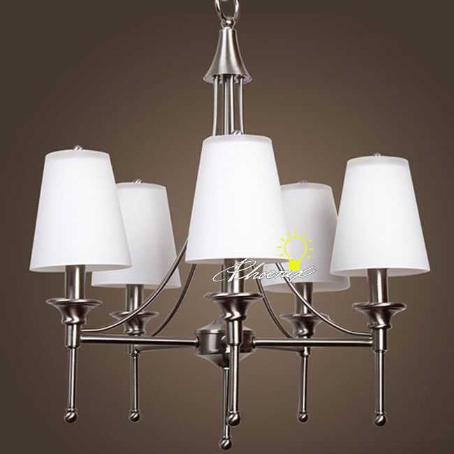 Modern 5 Brushed Stainless and Glass Shades Chandelier 8868