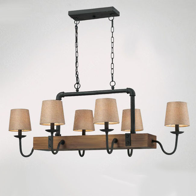 York Antique Wood and Iron Chandelier 9161