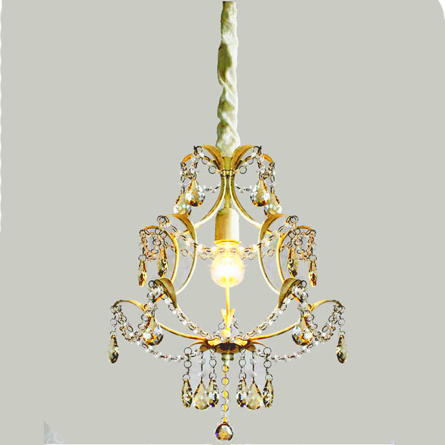Antique Crystal and Iron Art Chandelier 9164