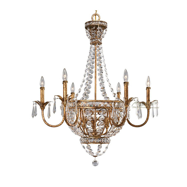Antique Copper Crystal Chandelier 9260
