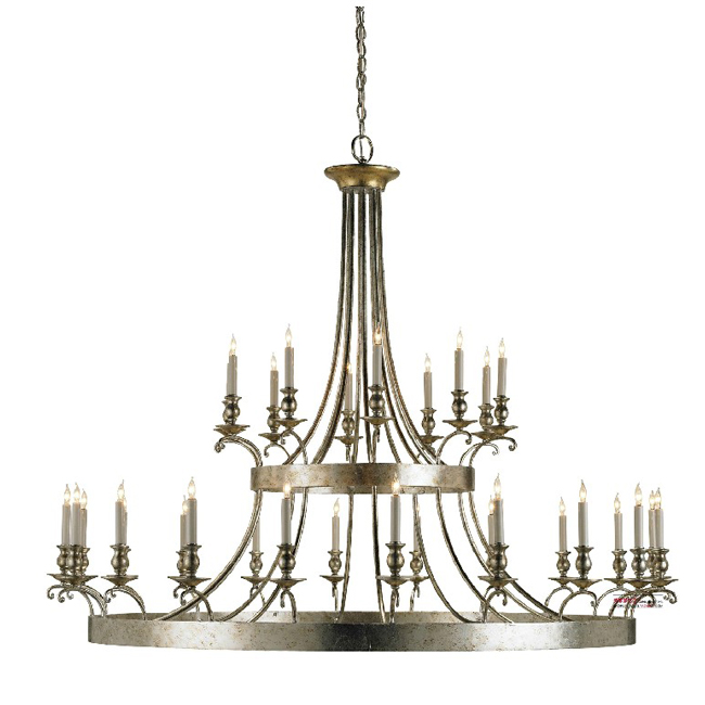 Antique Large Silver 30 Candles Chandelier 9348
