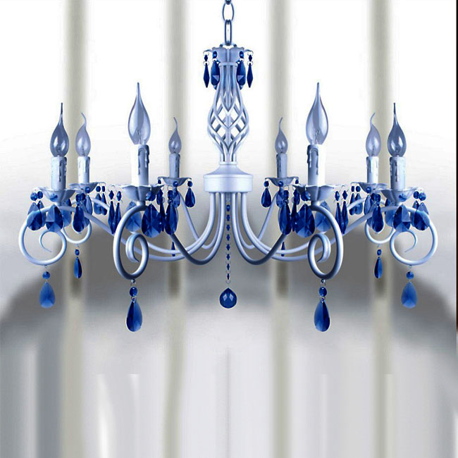 Milan White Metal and Blue Crystal Chandelier 9391