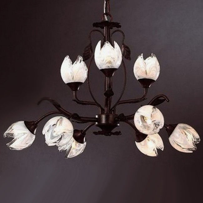 Antique Glass Flower and Iron Art Chandelier 9447