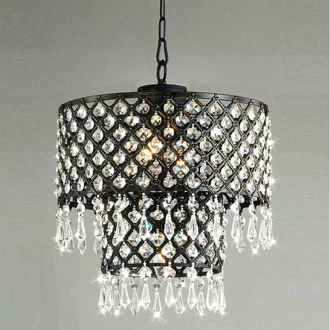 Antique Black Metal and Crystal Chandelier 9490