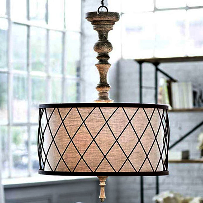 Antique Wood art and FLAX Shades Chandelier 9729